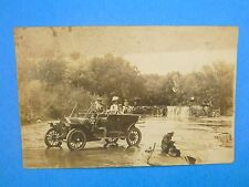 Vintage 1909 RPPC Family Fishing at Ford in a Model T Ford Real Photo Postcard