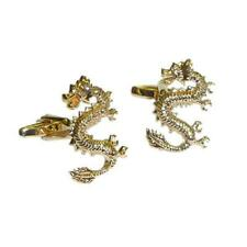 Golden Lucky Chinese Dragon Mythology CUFFLINKS Folklore Party Birthday Present