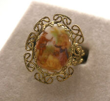 Vintage Filigree Ring w/ Courting Couple Miniature West Germany - adjustable
