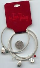 "2 SETS OF 3 ""THE INN THING""  X-MAS SILVER CHARMS SAYINGS BANGLE BRACELETS S738"