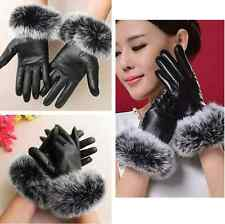 Ladies Black Leather Lined Gloves With Fur Cuff Womens Touchscreen Smart Driving