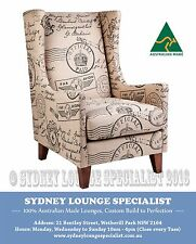 Brand New - AUS MADE Vogue Wing Occasional Chair (Wariwck Postmaster) Sofa Couch