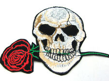 Hot 1pcs Embroidered Cloth Patch Sew Motif Applique  Skull and Rose