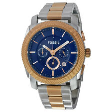 Fosssil Machine Chronograph Blue Dial Two-tone Mens Watch FS5037