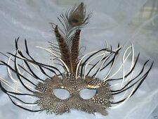 Black White Wild Feather Masquerade Mardi Gras Mask