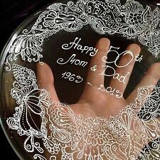 Personalised Hand Painted Wedding Plate Ring Dish Wedding Lace