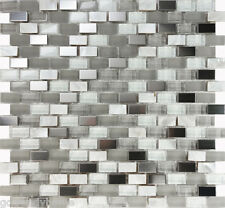 1SF White Glass Mother Of Pearl Stainless Steel Mosaic Tile Kitchen Backsplash