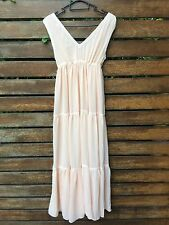 New Women Lady Korean Chiffon Peach Pink Beach Maxi Long dress AUS 8