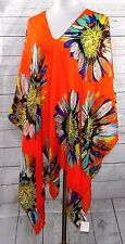 ORANGE YELLOW SUNFLOWER SHEER CHIFFON TUNIC KAFTAN PONCHO TOP BLOUSE COVER UP 3