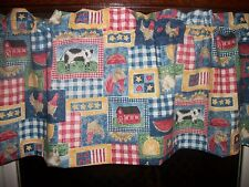 Country Cow Rooster Chicken Sunflower blue fabric kitchen window curtain Valance
