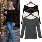 Womens Sexy Off Shoulder Boat Neck Casual Long Sleeve T-Shirt Tops Blouse S-XL