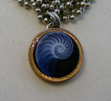 "Lucky Penny Pendant Sacred Geometry NAUTILUS SHELL Charm 24"" Necklace"