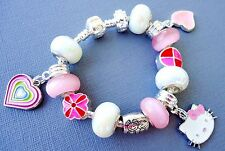 Kid's Children European Charm Bracelet Pink beads Pendant Hello Kitty, Heart S56