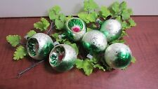 """6 STUNNING Vintage Made in Columbia Mercury Glass Ornaments 3 Indent -  2"""" Each"""