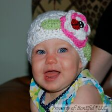 BonEful RTS NEW Boutique S Girl White Flower Crochet 0 3 6 9 M Baby Hat Lady*bug