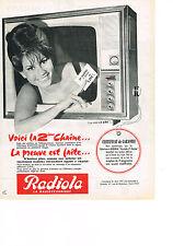 PUBLICITE ADVERTISING  1963    RADIOLA   téléviseur équipé 2° CHAINE
