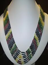 7 Strands Natural Ruby Emerald And Sapphire Gem Stone Necklace Jewelery