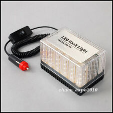 48 LED Amber/White Car Roof Flashing Flash Strobe Emergency Top Light