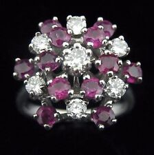 Vintage Diamonds Rubies 14k White Gold Dome Cluster Cocktail Ring Mid Century