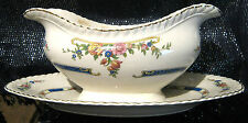 Johnson Bros Old English fixed sauce boat and saucer, Approx 9 ins long 3 tall