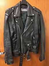 Men's Women's Black Leather Protech Motorcycle Jacket Size 42 Small