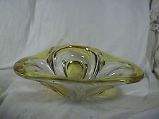 Crysral Candy Dish Clear With Yellow Trim Tear Drops, Murano?