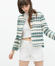 149. SOLD OUT!!! ZARA GREEN ECRU STRIPED BLAZER WITH ZIP SIZE M
