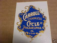 Carroll Chainless Cycle Bike Badge Water Slide Decal 1890s - 1920s ?