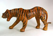 Leather Wrapped Tiger Glass Eyes Animal Wild Cat Figurine