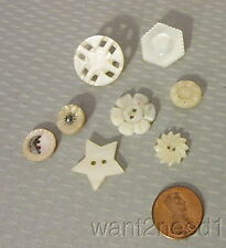 antique lot 8 MOTHER OF PEARL BUTTONS cut steel moon CARVED STAR all shell MOP