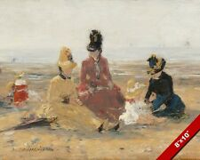 WOMEN & CHILD ON THE BEACH VINTAGE FRENCH 1880'S PAINTING ART REAL CANVAS PRINT