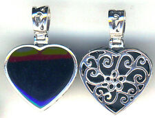 "925 Sterling Silver Black Onyx Large Double Sided  Heart Pendant  L1.3/8"" Rvrsbl"