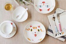 """Bone china 7.5"""" Snack Plate, cute cat in white ,"""