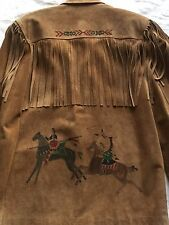 Louise Lasky Leathers Hand Painted Suede Jacket Fringe Native American Indian