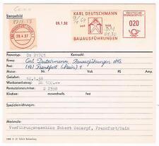 Frankfurt 1957 Deutschmann Bau Bild Mann Ziegel Haus AFS Archivkarte Unikat
