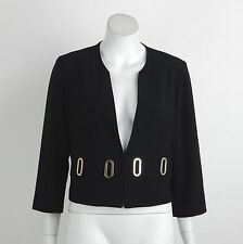 New Joseph Ribkoff Cover Up Jacket Black Gold Metal Accent 3/4 Sleeves Sz 10 NWT