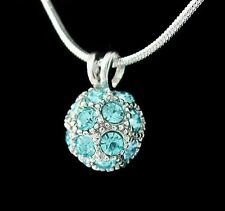 Disco Ball Rhinestone Crystal Pendant Charm Jewellery .925 Necklace Chain New