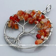 Red Agate Tree Of Life Life-tree Gems Chip Beads Wire Wrap Pendant fit Necklace