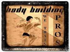 BODY BUILDING METAL sign weights GYM sports MANCAVE vintage style wall decor 216
