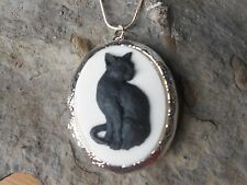 *(LOCKET)-- HALLOWEEN BLACK CAT ON WHITE CAMEO LOCKET- WITCH, WICCA, QUALITY!!!
