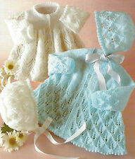 "Baby Lace Matinee Jackets Bonnets Knitting Pattern 3ply & 4ply 16-22"" 417"