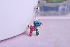 Navel Belly Bars dangle Body Piercing Belly Button crystal gold plated horse