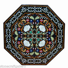 """36"""" Marble Coffee Center Table Top Inlay Pietra Dura Work For Home Decor"""