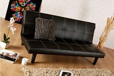 Single Faux Leather Sofa Bed in Black - Spencer Sofabed - Free Delivery CHEAP