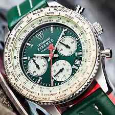 RACING Green DETOMASO Firenze uomo 42mm Cronografo s-steel 10 ATM NUOVO