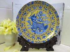 NEW - Jingdezhen Ceramic Plate Kirin - Yellow/Blue with Carved Wooden Stand