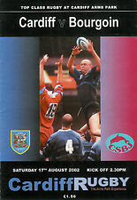 Cardiff V BOURGOIN-pré-saison AMICALE 17 aug 2002 rugby programme