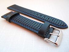 22 mm Black Blue Perforated Calf Type Leather Watch Strap Band