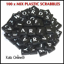 100 Plastic Scrabbles Tiles Letters Numbers Alphabet Scrabble Game Crafts BLACK