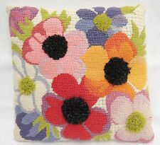 Vintage Needlepoint Pillow Big Colorful Flowers w Pompom Centers Funky Cool Mod